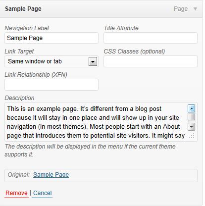 WordPress Menus的高级选项模式