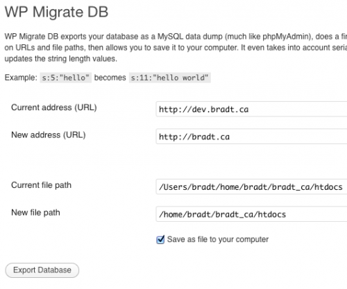WP Migrate DB界面