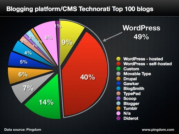 Top 100 blogs platform usage
