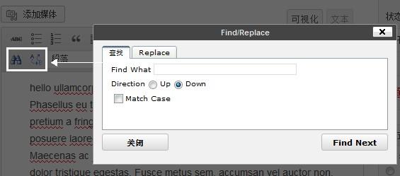 search和replace按钮