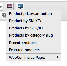 Woocommerce shortcode tinymce button