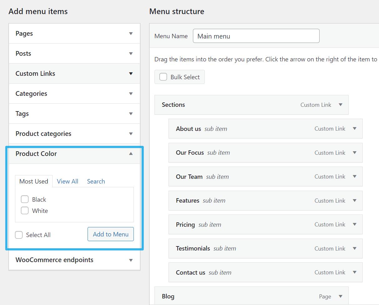 WooCommerce将产品属性加入网站菜单