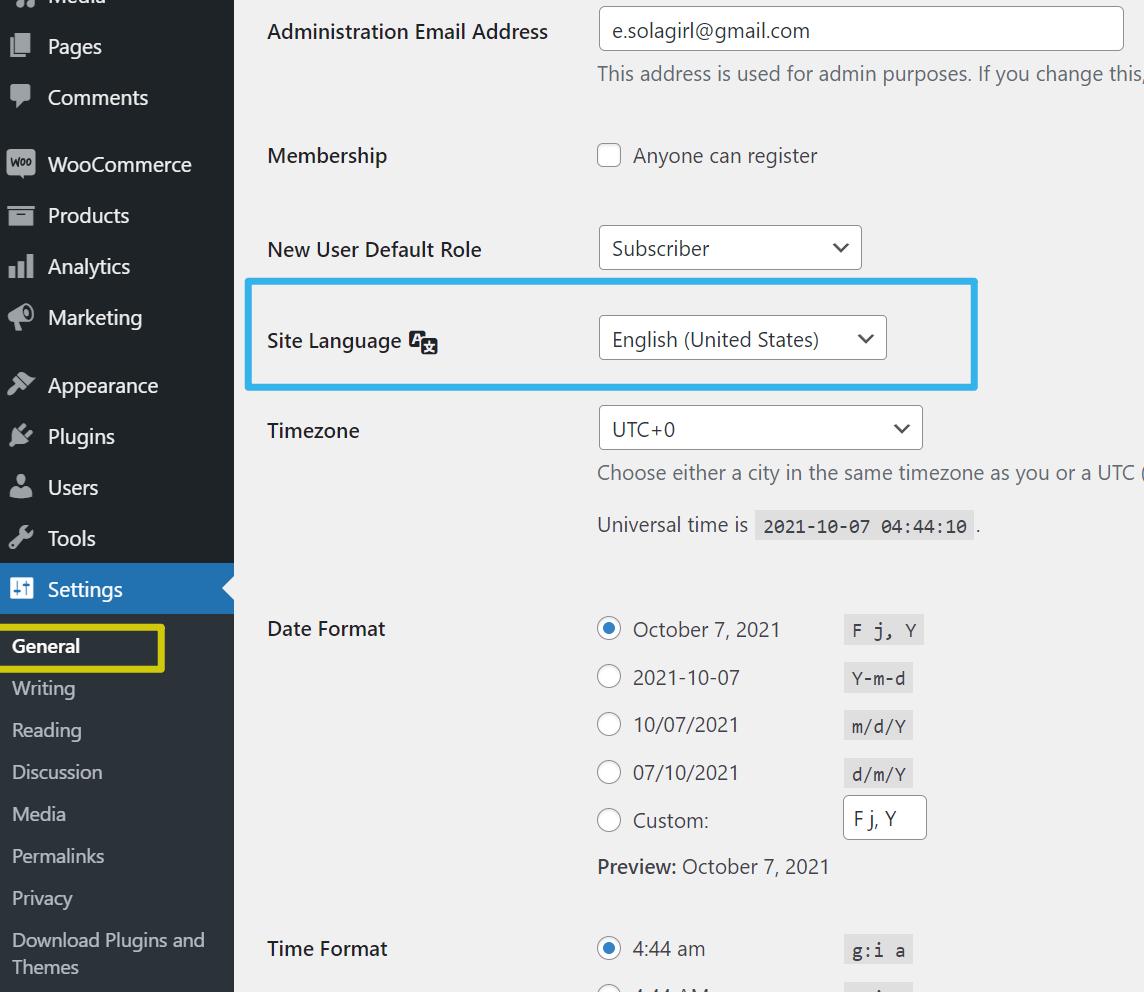 WooCommerce安装中文语言包 - 切换站点语言